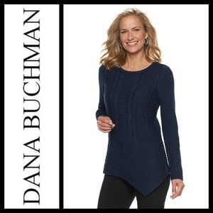 Dana Buchman Lurex Asymmetrical Hem Navy Sweater